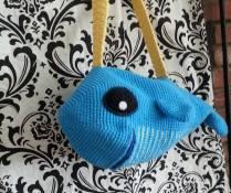 Crocheted whale bag
