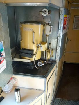 Here's the samovar on our train. I don't know how exactly it works, nor do I think I want to know exactly how it works, but it is a never-ending source of hot water while on the train.
