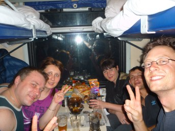 Here are some of the Russians I met on train 99. They were playing some sort of card game I couldn't figure out with a deck of cards that had what seemed like only 7s through Kings and a bunch of unusual suits I'd never seen. They thought it was hilarious every time it was my turn to play.