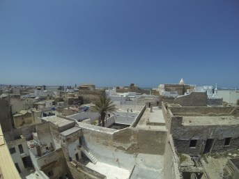 Looking over the town from the rooftop terrace at our hotel in Essaouira. It's like Aladdin, with a bunch of satellite dishes!