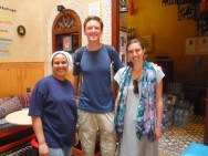 Our blog's two protagonists posing with Souad, the wonderful teacher and chef from our cooking class in Fes.
