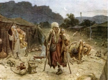 The four lepers looting the camp of the Syrians, 2 Chronicles 20 17 by William Brassey Hole