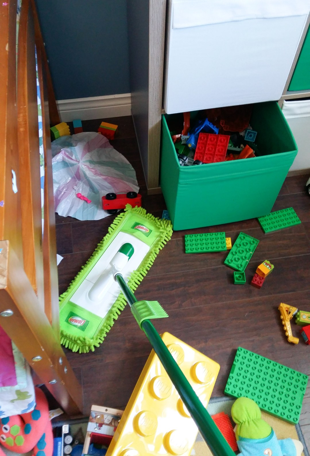 I just shoved the toys around a bit to collect up all the dust!