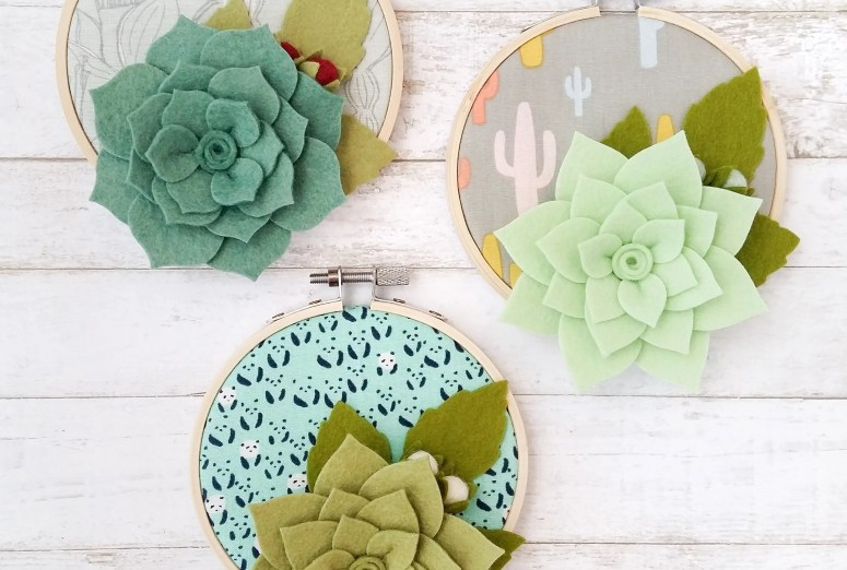 Succulent Hoop Art by The Yellow Birdhouse. Made with Wool Felt, Cotton Fabrics and Bamboo Embroidery Hoops