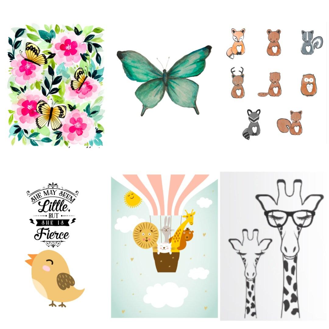 Adorable animal art prints. Free nursery decor printables of cute animals!