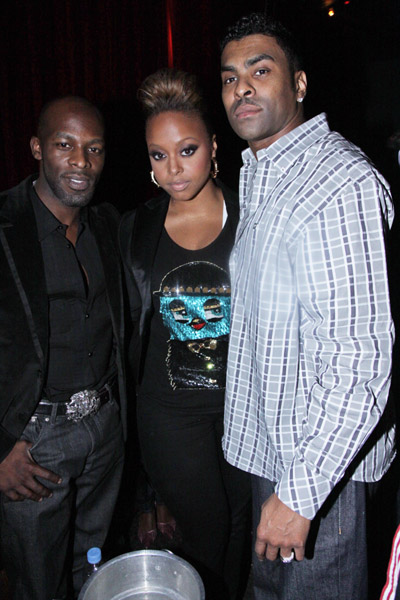 """Joe, Chrisette Michele and Ginuwine attend Chrisette Michele's """"Epiphany"""" album release party at M2 Ultra Lounge on May 12, 2009 in New York City."""