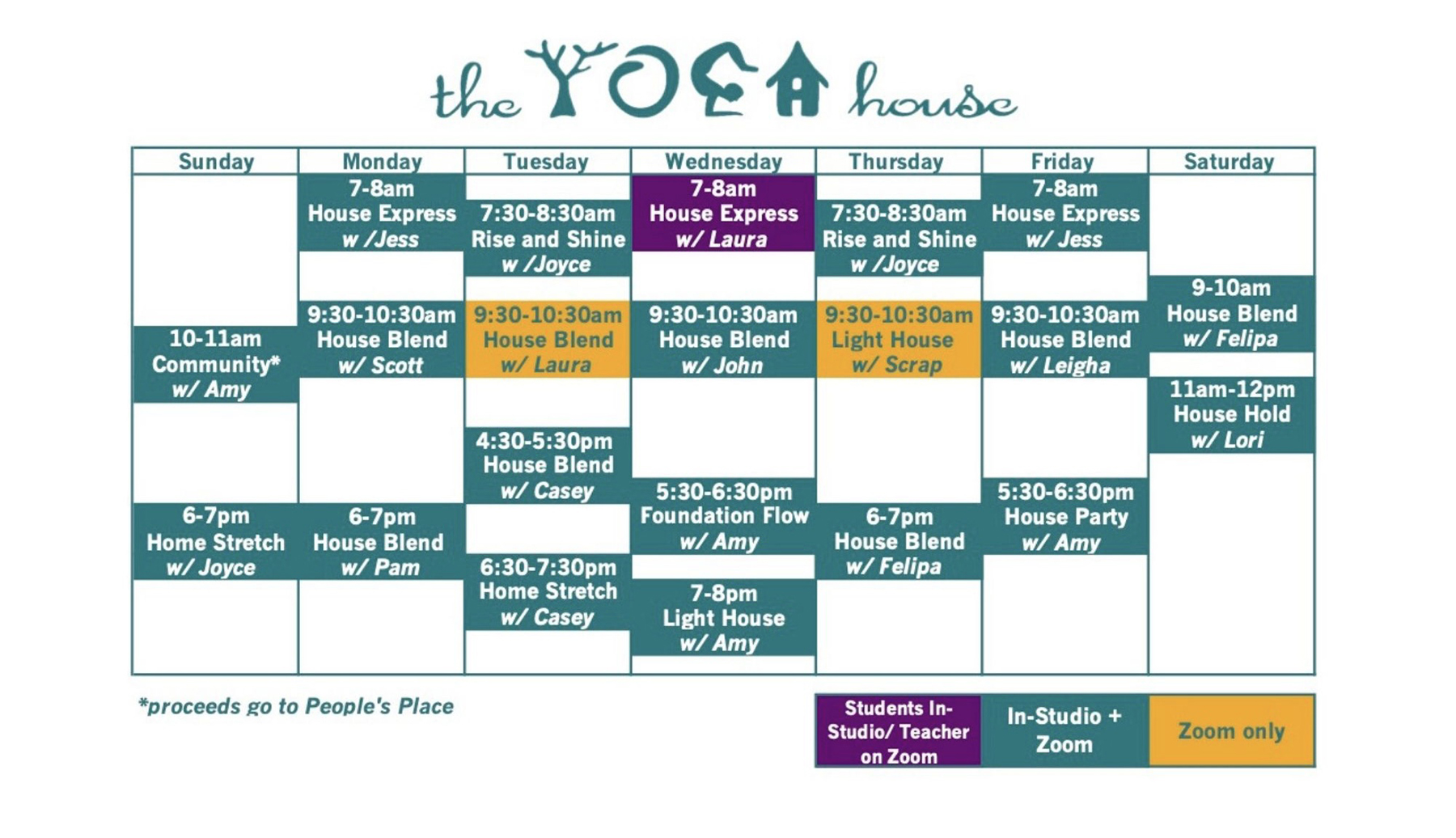 The schedule of classes in text for the yoga house