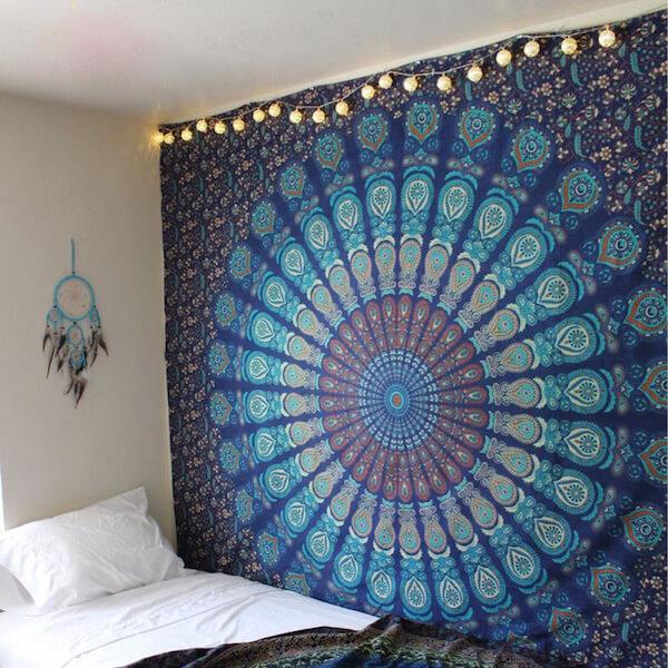 blue mandalas tapestry bedroom wall hangings | the yoga mandala store
