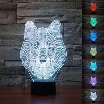 3D Wolf Face Illusion LED Lamp Hologram