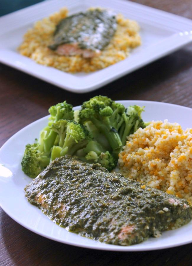 Pesto-Salmon-Broccoli-and-Couscous
