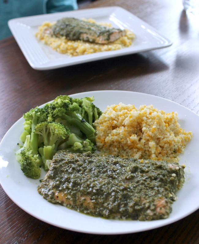 Pesto Salmon with broccoli and couscous