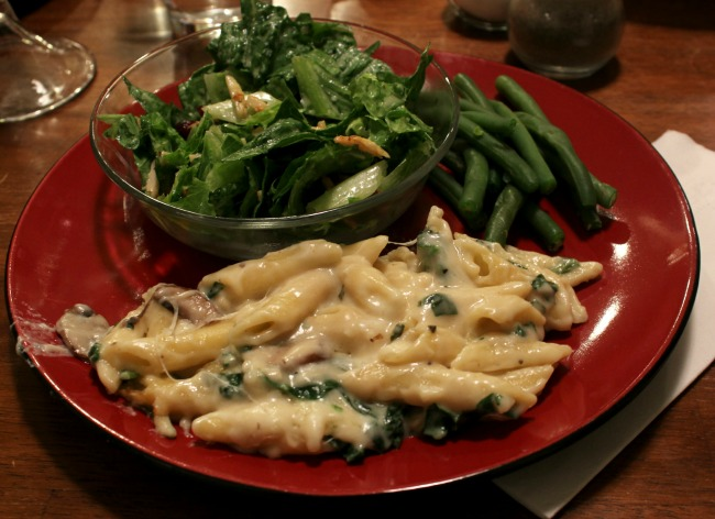 pasta, salad, and green beans