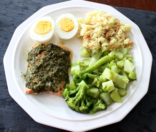 salmon, egg, rice, broccoli