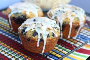 Jumbo Blueberry Oatmeal Flax Muffins