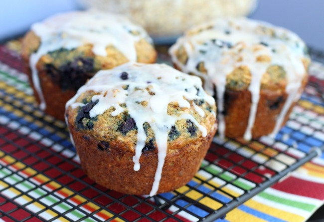 Blueberry Flax Oatmeal Muffins