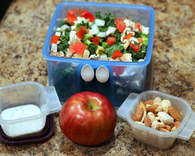 kale salad with apple and nuts