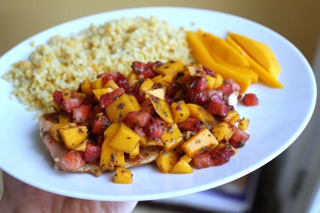 strawberry mango salmon and couscous
