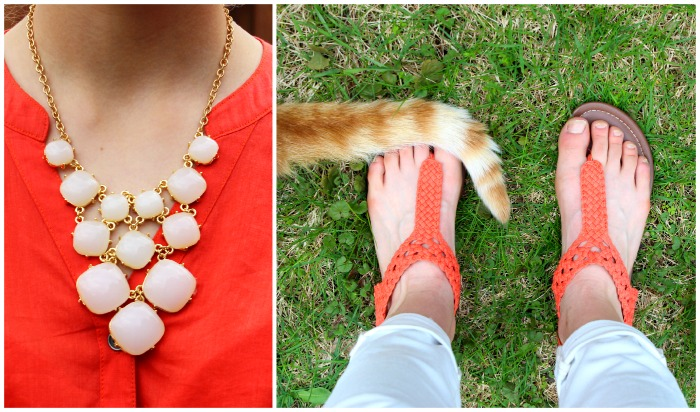 necklace and shoes collage