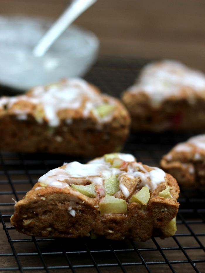 Rhubarb Rye Almond Scones