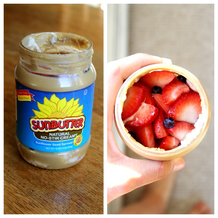 overnight oats in a sunbutter jar