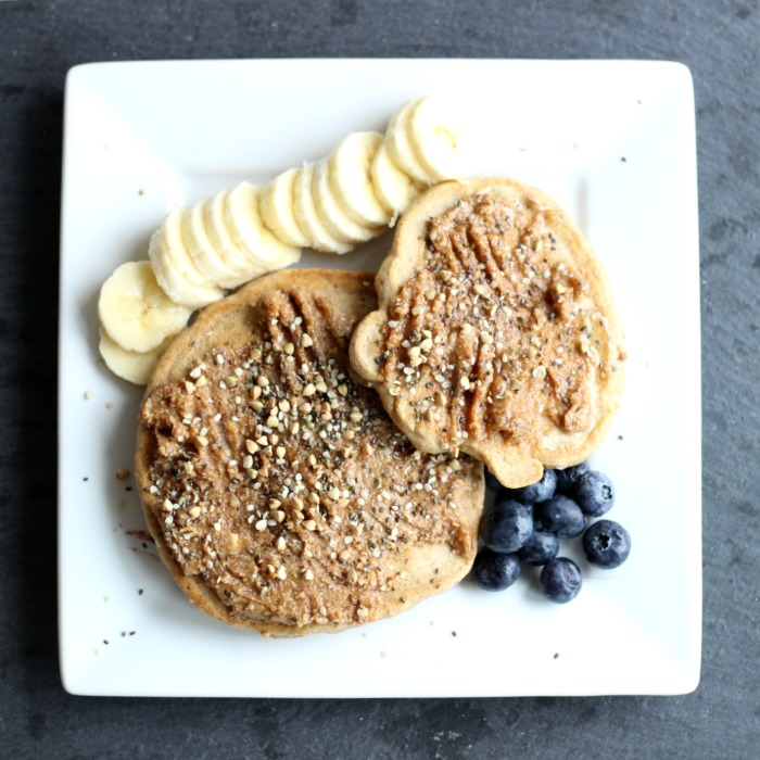 pancakes chia hemp banana blueberries