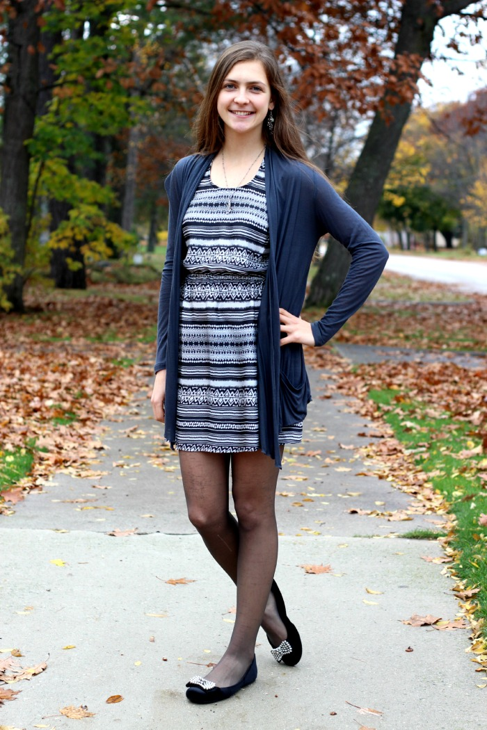 aztec dress and cardigan