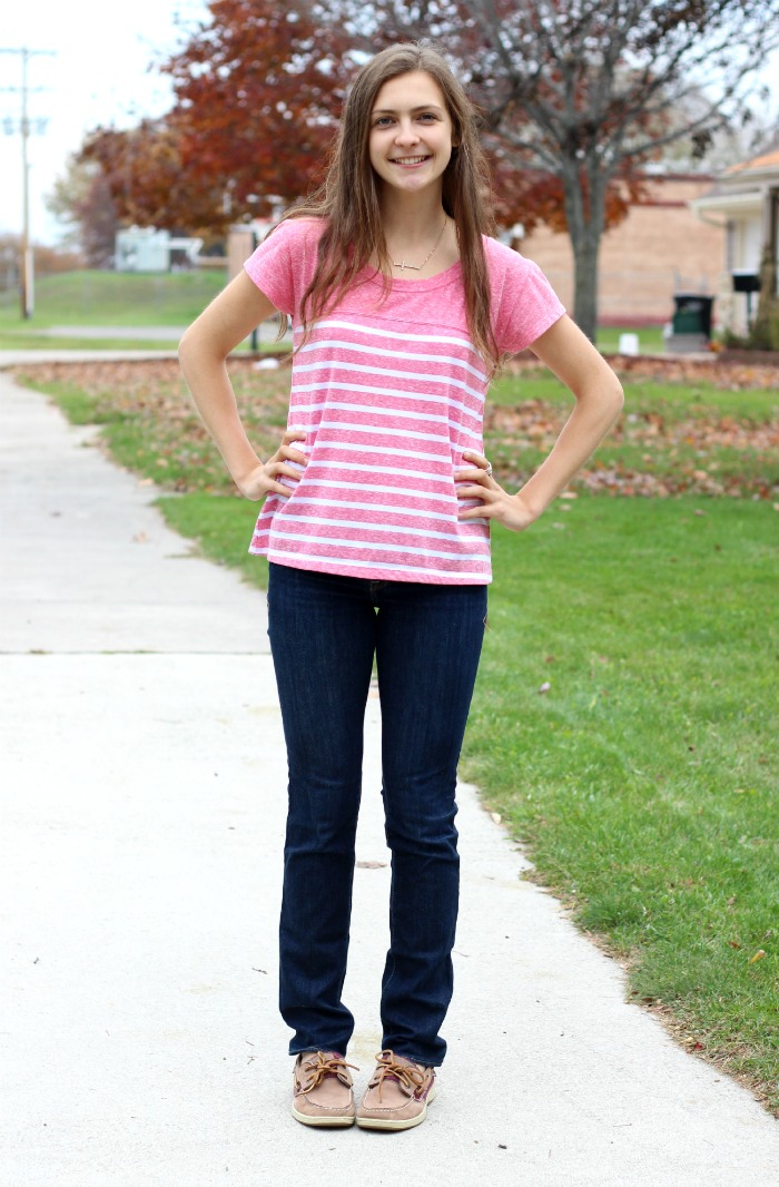 pink striped shirt ootd