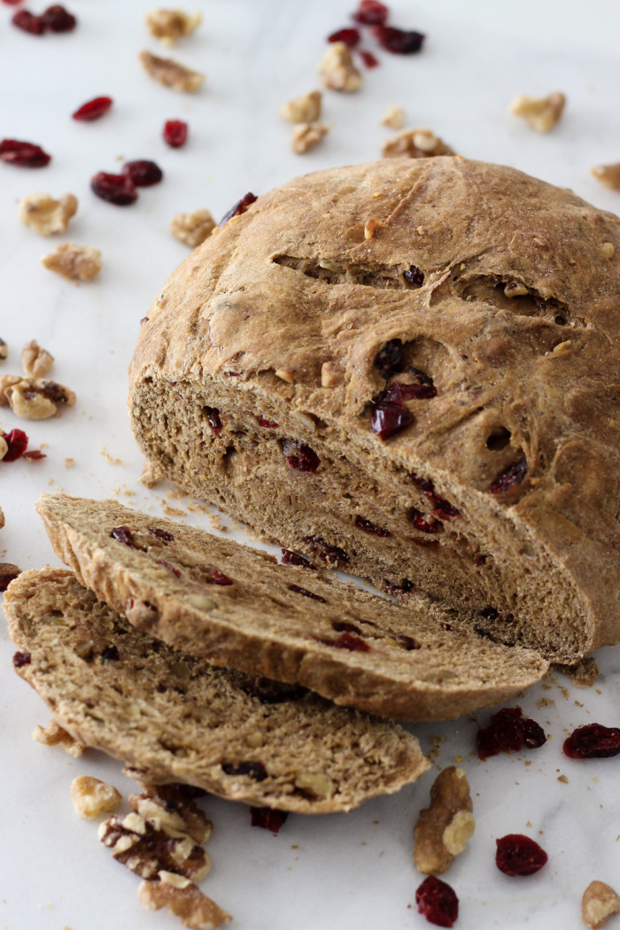 Whole Wheat Cranberry Walnut Bread (vegan!) made with Red Star Yeast-5