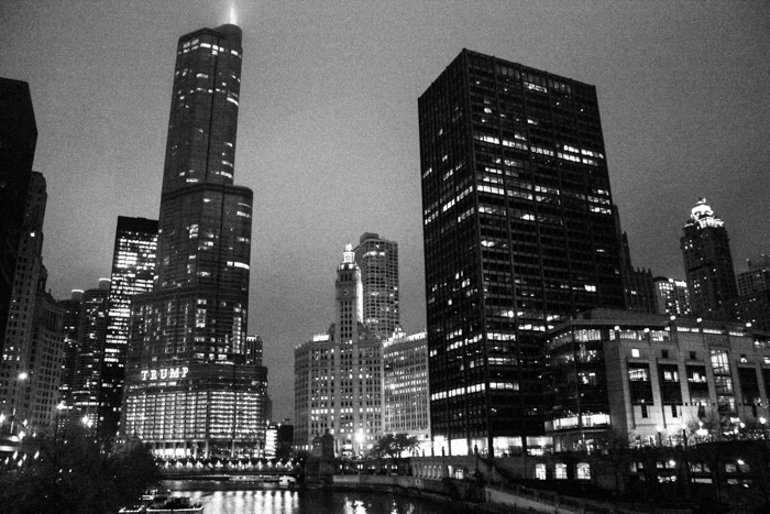 chicago city at night black and white