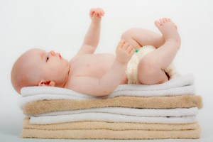 baby on towels