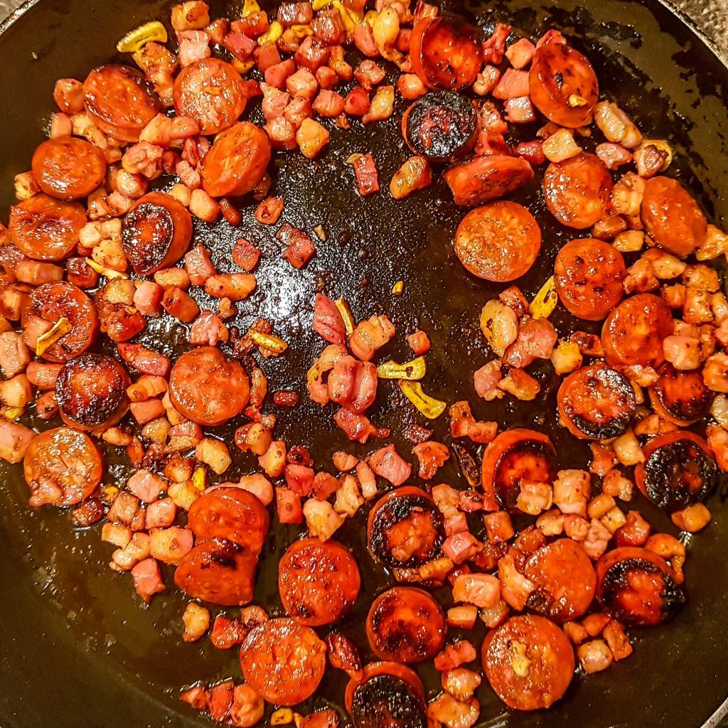 chorizo and pancetta pesto pasta