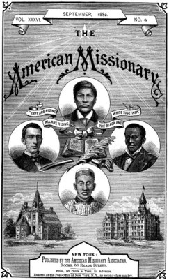 Front cover of The American Missionary magazine. The image represents a missionary vision for Native Americans, African Americans, Chinese immigrants and Mormons in the US.