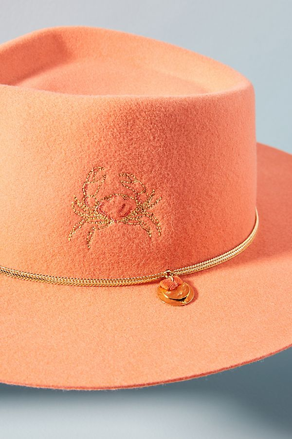 anthropologie pink coral cowboy hat crab cute quirky fashion style accessories valentine's day