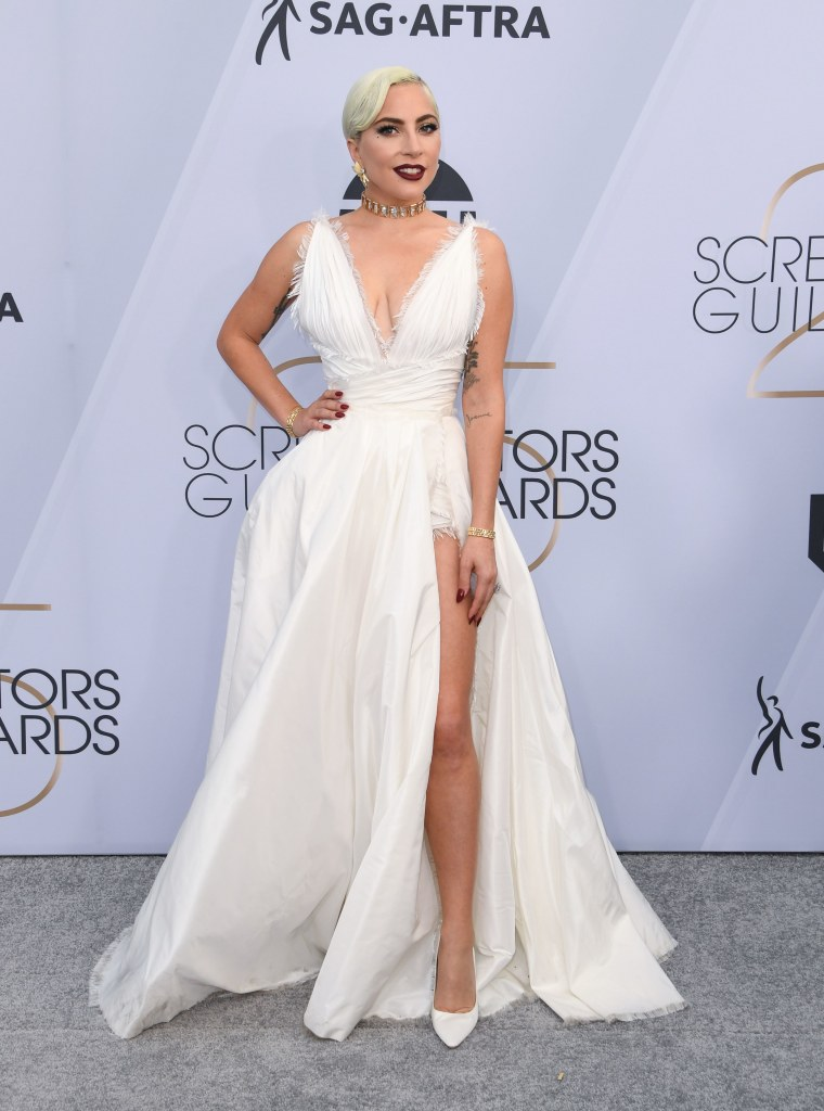 lady gaga dior haute couture jimmy choo heels tiffany and co jewelry sag awards 2019 fashion style red carpet celebrity
