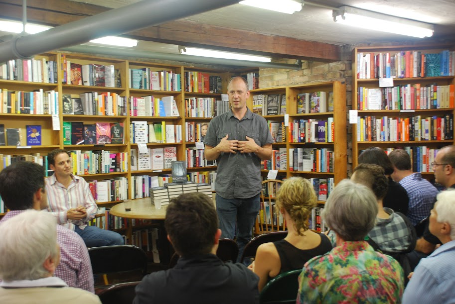 Peter Kujawinski talks about Nightfall to a crowd at the book launch event at 57th Street Books in Chicago, IL. Photo Credit: Amanda Trevino