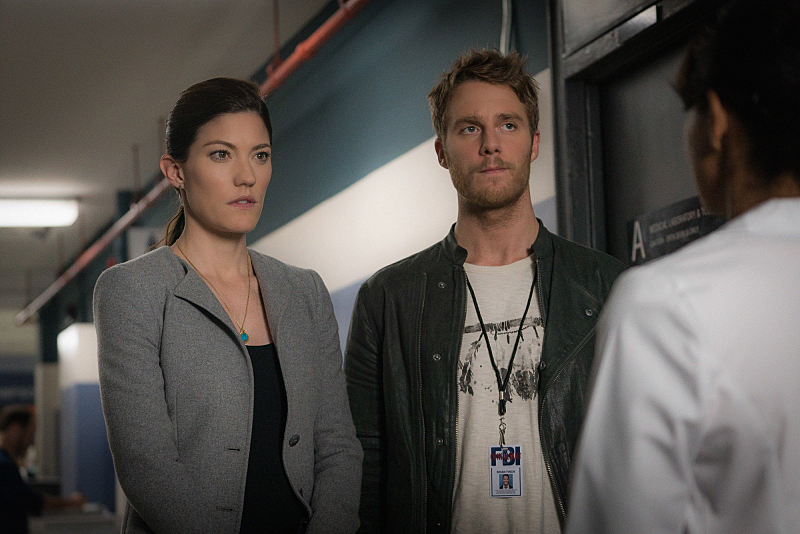 """""""Personality Crisis"""" -- Brian ( right Jake McDorman) learns a shocking secret about Rebecca's (left Jennifer Carpenter) late father but worries that telling her will land him in legal trouble. Also, Brian accidentally meddles in Rebecca's personal life while learning self-defense from her secret boyfriend, FBI Agent Casey Rooks on LIMITLESS, Tuesday, Oct. 20 (10:00-11:00 PM, ET/PT) on the CBS Television Network. Photo: Michael Parmelee/CBS © 2015 CBS Broadcasting Inc. All Rights Reserved."""