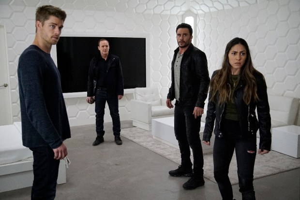 "MARVEL'S AGENTS OF S.H.I.E.L.D. - ""The Team"" - Agent Daisy Johnson must call upon the Secret Warriors for an inaugural mission that will leave no member unscathed, and S.H.I.E.L.D. learns more about Hive's powers, forcing them to question everyone they trust, on ""Marvel's Agents of S.H.I.E.L.D.,"" TUESDAY, APRIL 19 (9:00-10:00 p.m. EDT), on the ABC Television Network. (ABC/Kelsey McNeal) LUKE MITCHELL, CLARK GREGG, JUAN PABLO RABA, NATALIA CORDOVA-BUCKLEY"