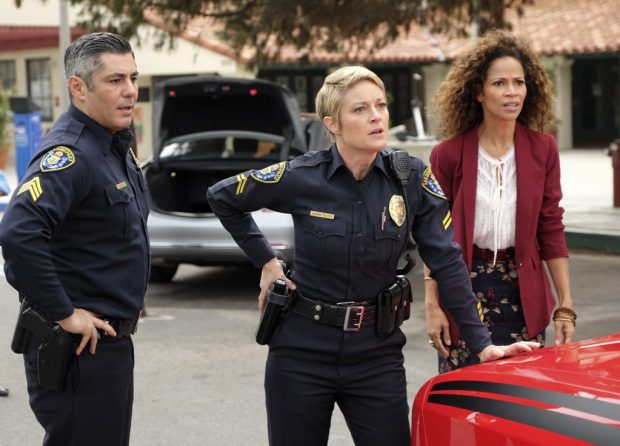 """THE FOSTERS - """"Potential Energy"""" - Tensions run high as Stef and Lena are called to action when the school is put on lockdown after it's discovered that Mariana's boyfriend Nick brought a gun on campus, on the fourth season premiere of """"The Fosters,"""" airing MONDAY, JUNE 20 (8:00 - 9:00 p.m. EDT), on Freeform. (Freeform/John Fleenor) DANNY NUCCI, TERI POLO, SHERRI SAUM"""