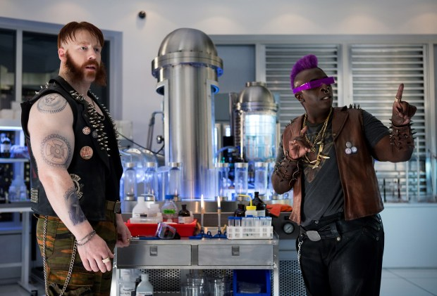 Left to right: Stephen Farrelly (Sheamus) as Rocksteady and Gary Anthony Williams as Bebop in Teenage Mutant Ninja Turtles: Out of the Shadows from Paramount Pictures, Nickelodeon Movies and Platinum Dunes