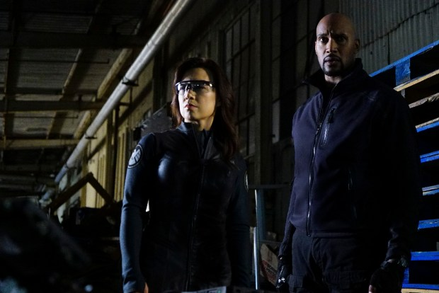"MARVEL'S AGENTS OF S.H.I.E.L.D. - ""The Ghost"" - In the season premiere episode, ""The Ghost,"" Ghost Rider is coming, and S.H.I.E.L.D will never be the same. ""Marvel's Agents of S.H.I.E.L.D."" returns with a vengeance for the fourth exciting season in an all-new time period, TUESDAY, SEPTEMBER 20 (10:00-11:00 p.m. EDT), on the ABC Television Network. (ABC/Richard Cartwright) MING-NA WEN, HENRY SIMMONS"