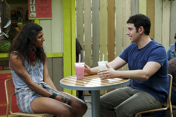 """Crazy Ex-Girlfriend -- """"When Will Josh Notice How Cool I Am?"""" -- Image Number: CEG202b_0139.jpg -- Pictured (L-R): Vella Lovell as Heather and Santino Fontana as Greg -- Photo: Scott Everett White/The CW -- ©2016 The CW Network, LLC. All Rights Reserved."""