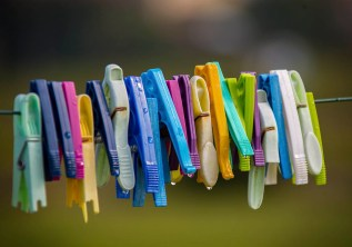 Even the clothes pins are colorful in Marcy.