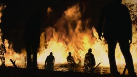 a screen shot of the fire lake in Walking Dead
