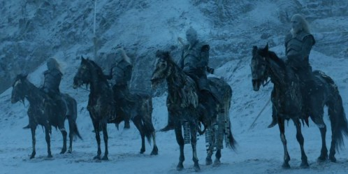 The zombie kings on Game of Thrones lined up on their horses
