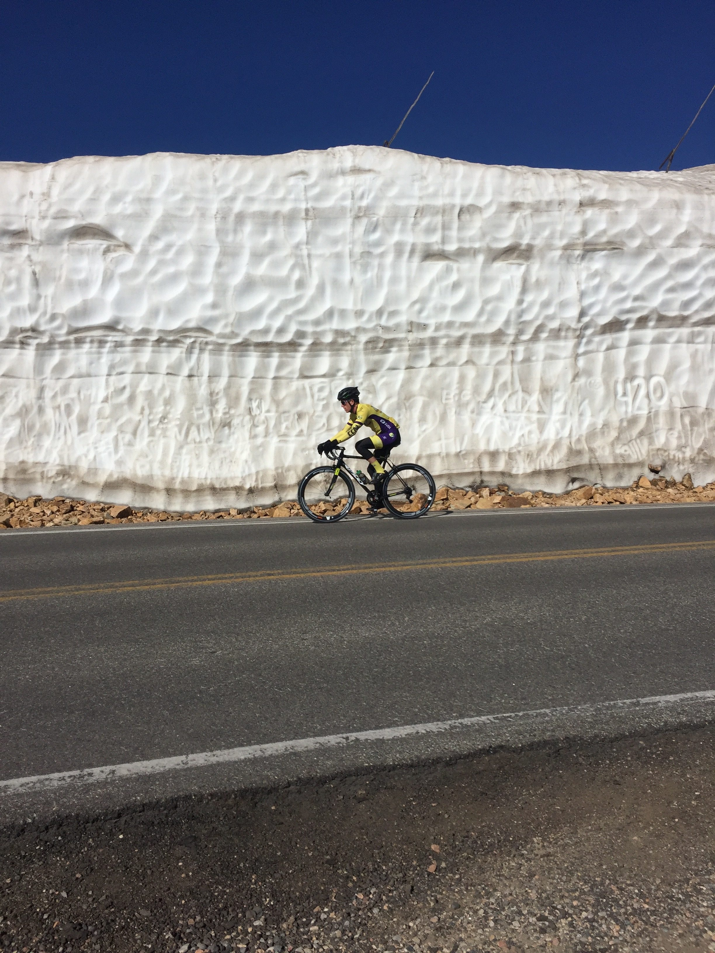Cycling in front of a Glacier