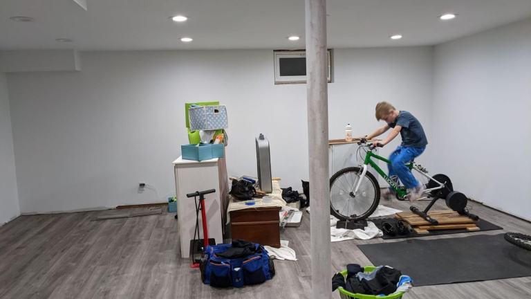 junior bike racer in indoor gym