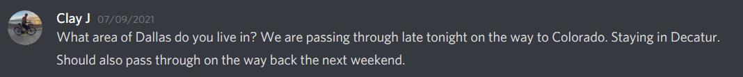 screenshot of text message between DIRT mates