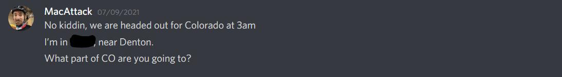 screenshot of conversation between DIRT mates