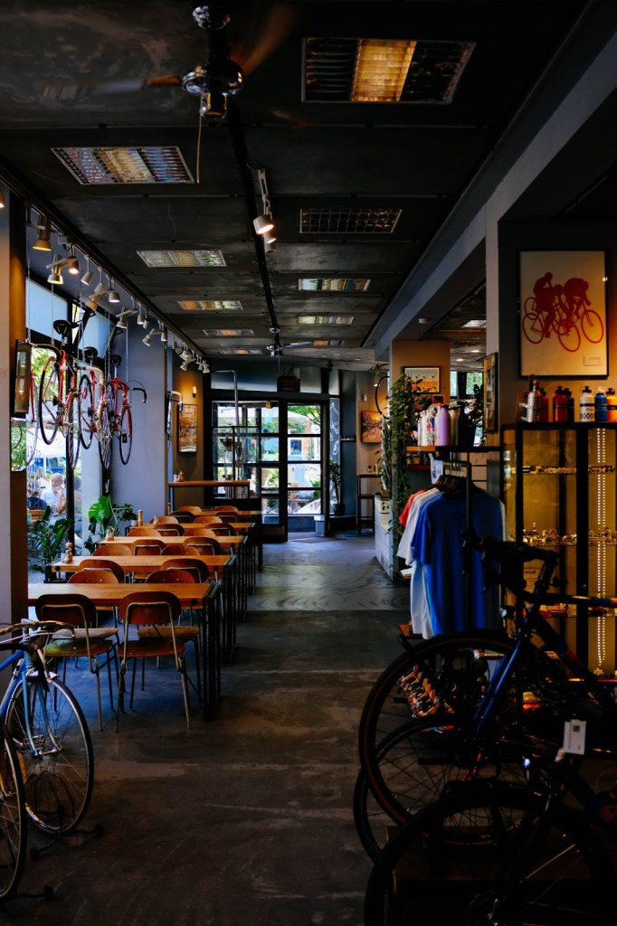 Coffee and cycling enhance the community at bike shops and cafe