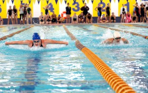 Seymour, CT- 09 October 2015-100915CM10-  Seymour's  Hannah Tricarico, left, swims against Sacred Heart's ​Elizabeth Sullivan during the 200 yard IM during a meet against Seymour on Friday.  Tricarico won the event.    Christopher Massa Republican-American